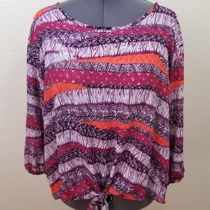 Ashley Stewart Tribal Design Pullover Top 26/28